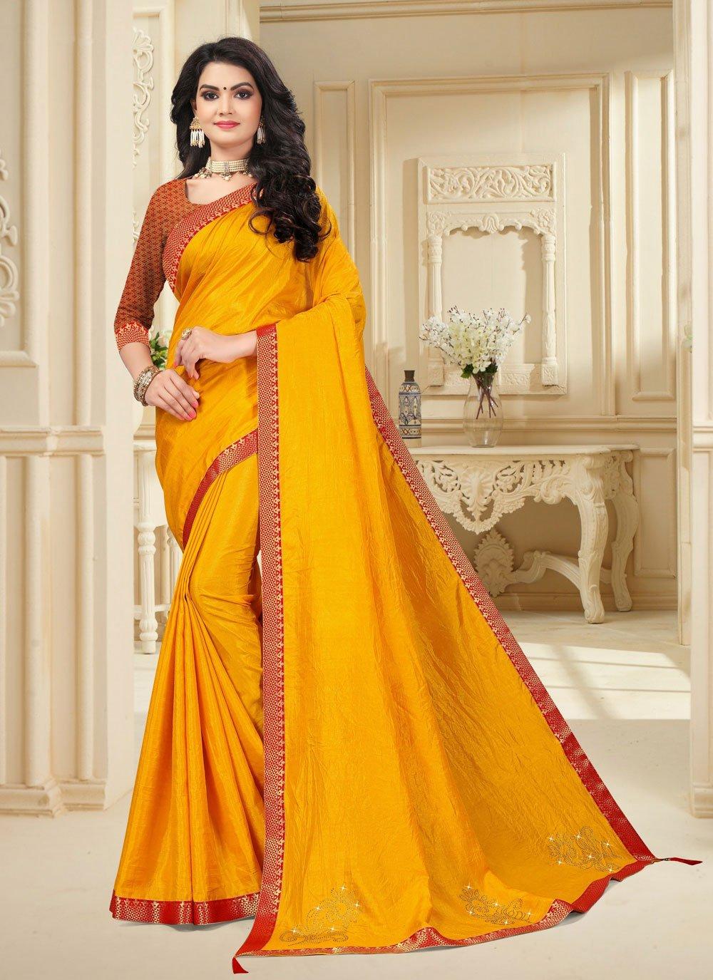 Yellow Vichitra Silk Lace Traditional Saree