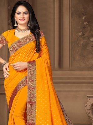 Yellow Vichitra Silk Trendy Saree