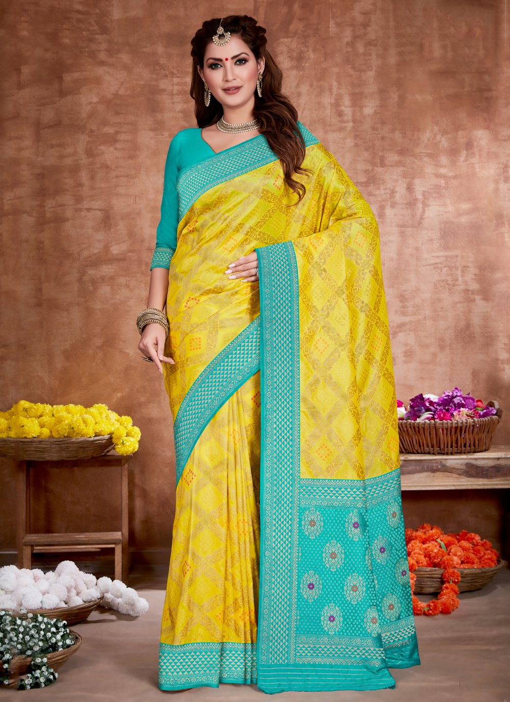 Yellow Weaving Art Silk Designer Traditional Saree