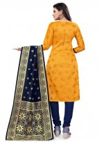 Yellow Weaving Banarasi Silk Churidar Designer Suit