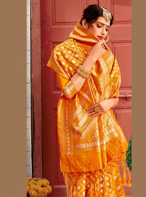 Yellow Weaving Ceremonial Designer Traditional Saree