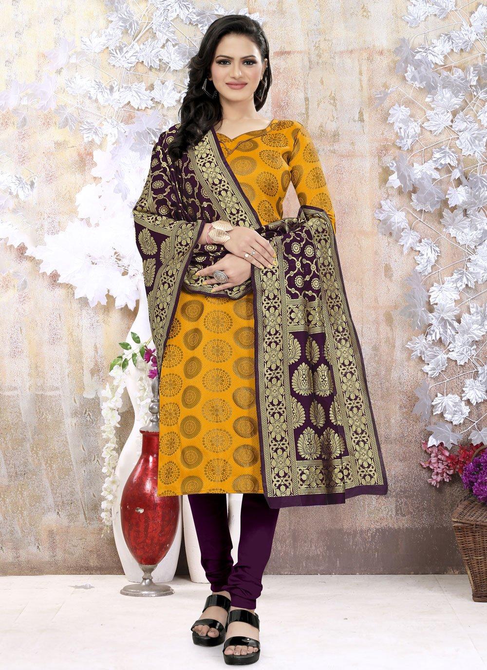 Yellow Weaving Churidar Suit
