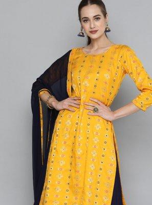Yellow Weaving Designer Kurti