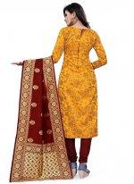 Yellow Weaving Festival Churidar Salwar Kameez