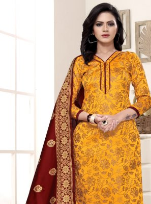 Yellow Weaving Festival Churidar Salwar Kameez