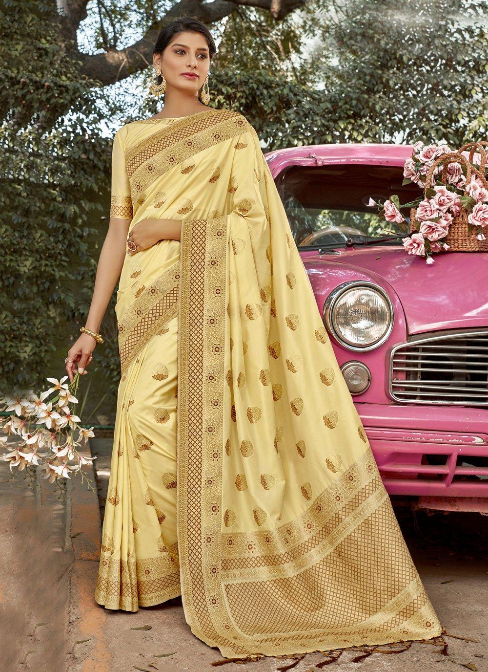 Yellow Weaving Sangeet Designer Traditional Saree