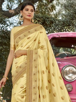 Yellow Weaving Sangeet Designer Traditional Saree