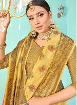 Yellow Weaving Silk Traditional Saree