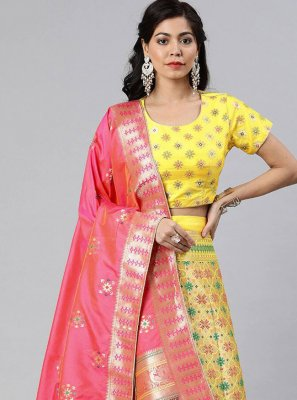 Yellow Woven Banarasi Silk A Line Lehenga Choli