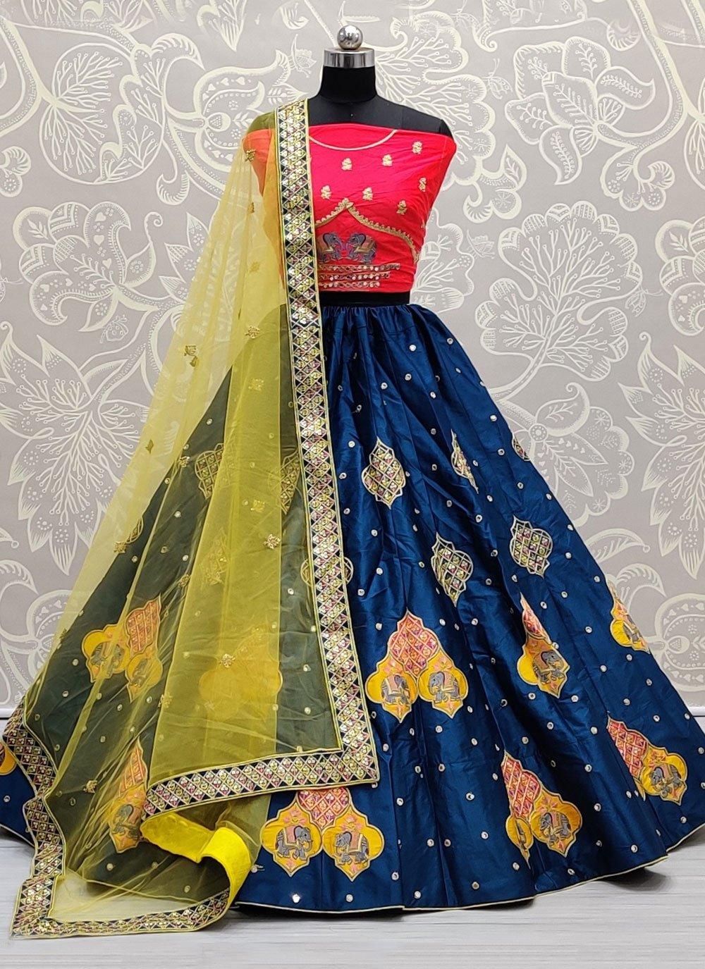 Zari Blue Silk Lehenga Choli