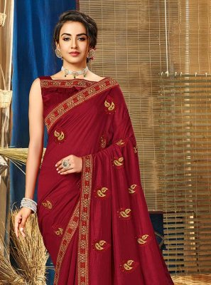 Zari Maroon Vichitra Silk Contemporary Saree