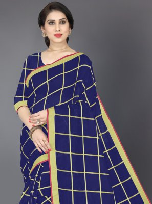 Zari Navy Blue Casual Saree