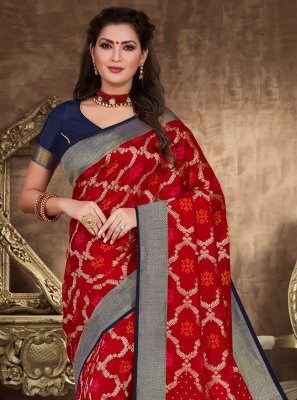 Zari Red Designer Traditional Saree