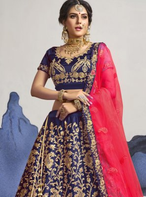 Zari Satin Silk A Line Lehenga Choli in Navy Blue