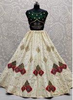 Zari Silk Lehenga Choli in Off White
