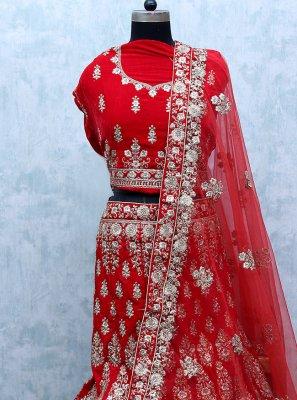 Zari Velvet Red Lehenga Choli
