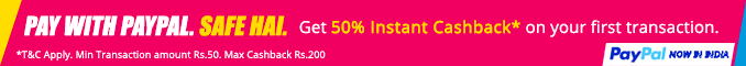 Pay with PayPal & Get 50% Instant Cashback